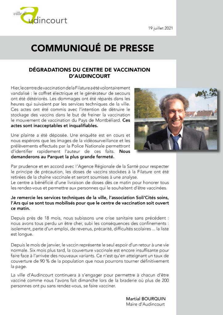 Communique presse_degradations centre vaccination